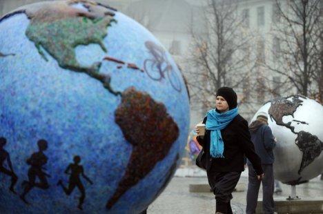 Globes in Kopenhagen tijdens de klimaattop