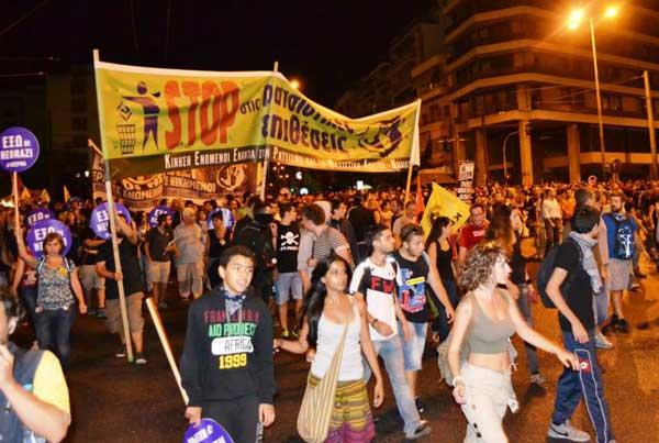 Anti-fascistisch verzet tegen de fascistische Gouden Dageraad, afgelopen woensdag (foto via www.SEKonline.gr)