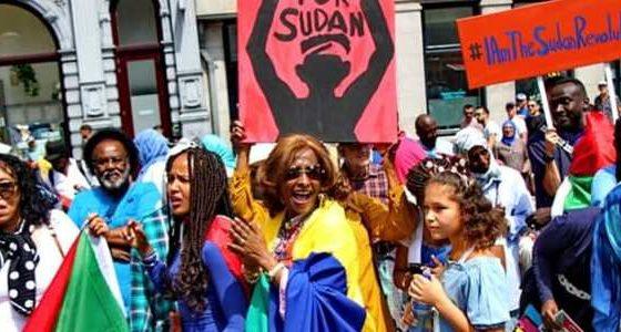 Protest tegen het militaire regime in Soedan, 30 juni op De Dam, Amsterdam